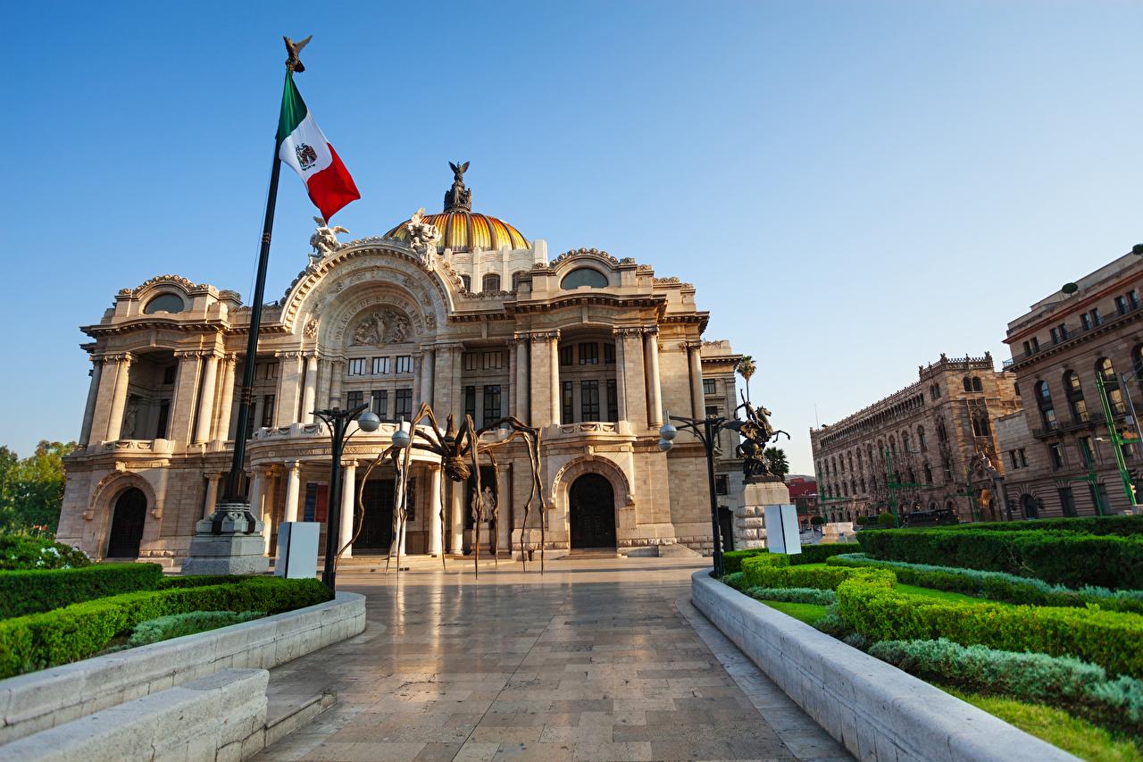 Обои для рабочего стола Дворец Мексика Mexico флага Дома город дворца Флаг Города Здания