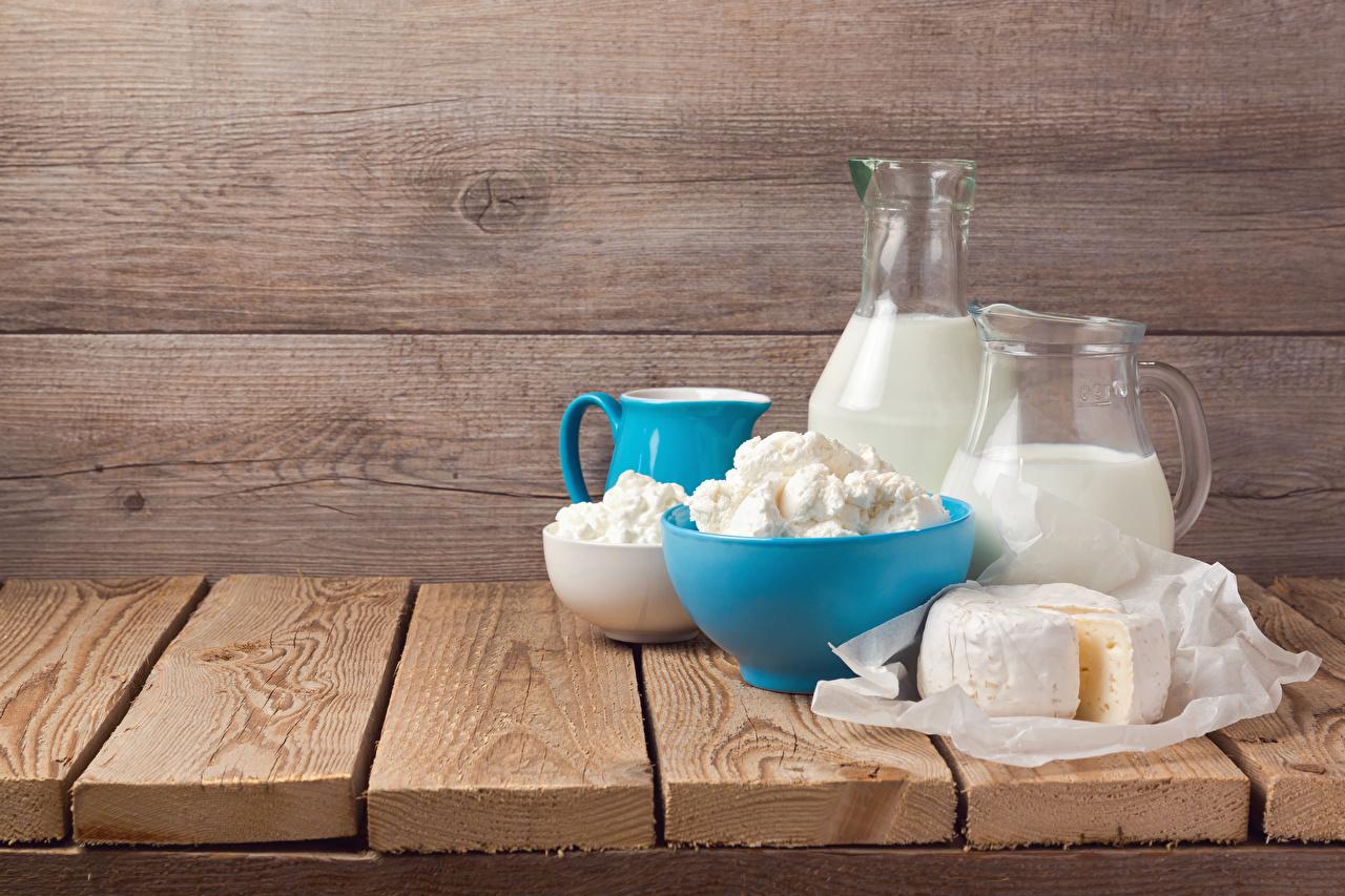 Обои Молоко Творог Сыры Кувшин Еда Доски Пища Продукты питания