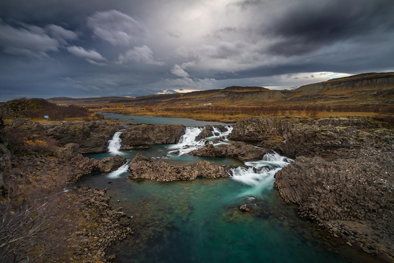 Картинки Исландия Glanni Waterfall Природа Водопады Реки река речка