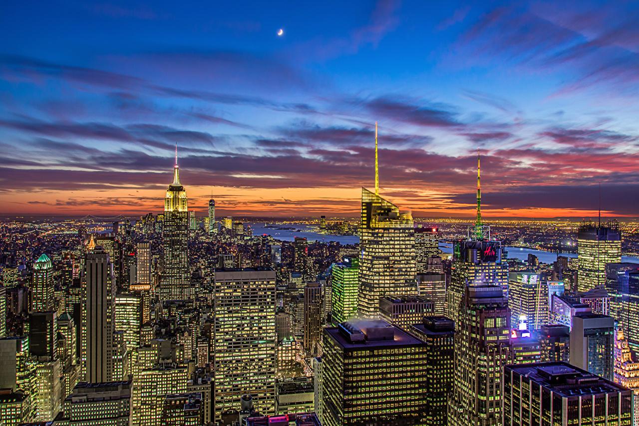 Фотографии Нью-Йорк штаты Manhattan Empire State Building Небоскребы город Здания США америка Дома Города