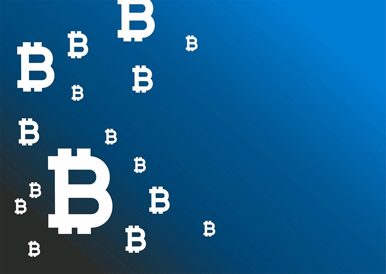 Картинки Биткоин Синий Цветной фон Bitcoin синих синие синяя