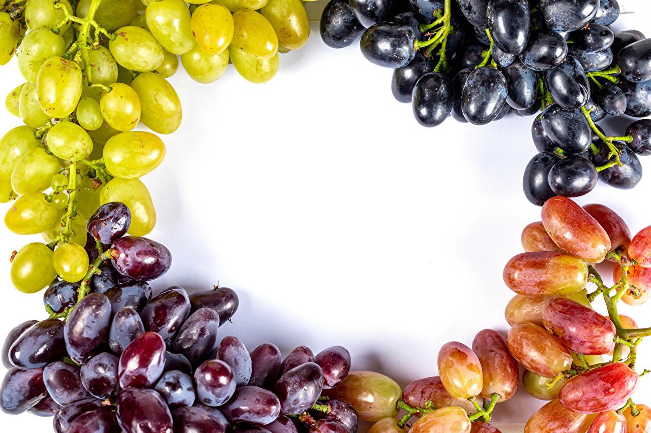 Картинка Разноцветные Виноград Еда Белый фон Пища Продукты питания белом фоне белым фоном