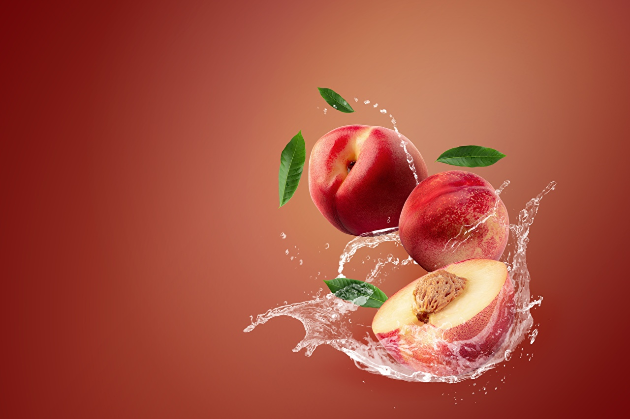Картинка Nectarine Персики с брызгами Еда Брызги Пища Продукты питания