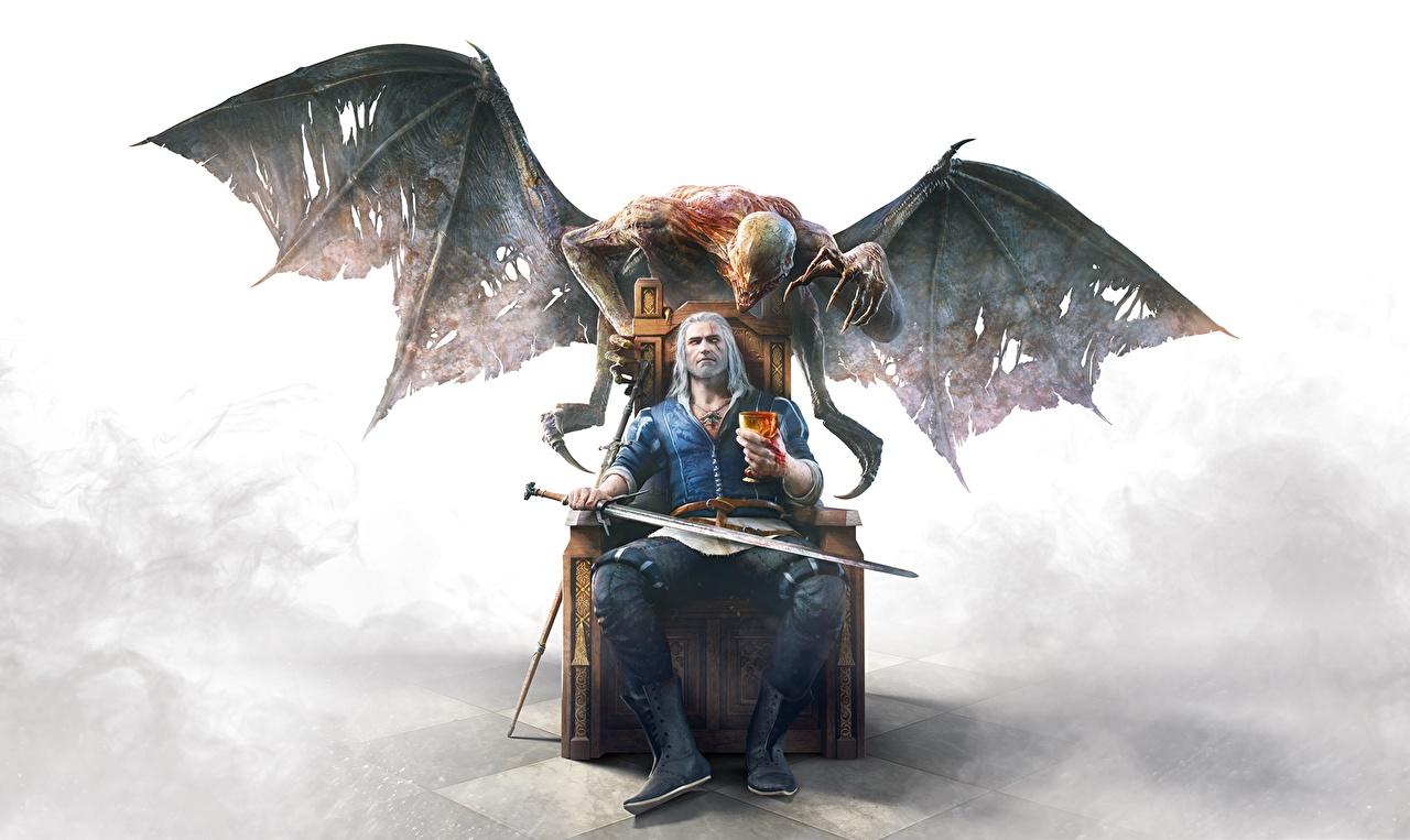The Witcher 3: Wild Hunt Геральт из Ривии Демоны Крылья Мечи Сидит Трон 11 глаз, Фантастика, Ведьмак 3: Дикая Охота, сидящие Игры Фэнтези