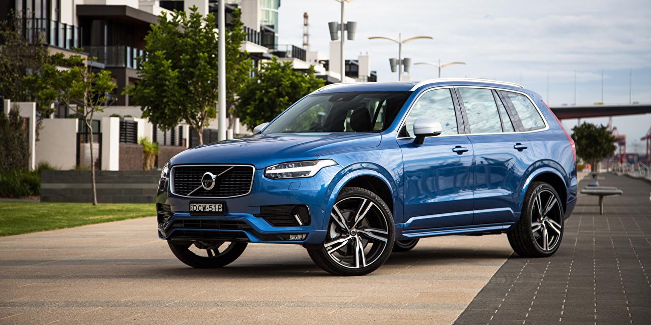 Картинки Volvo CUV XC90 синих Металлик Автомобили Вольво Кроссовер Синий синие синяя авто машина машины автомобиль