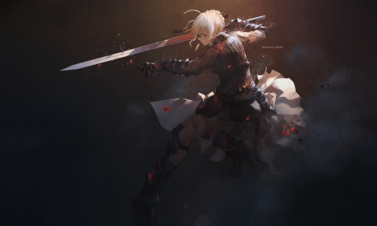 Картинка Fate: Stay Night Мечи Блондинка Воители Saber Аниме Девушки Судьба: Ночь Схватки воины