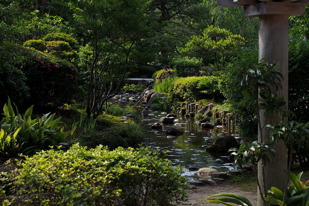 Картинка Япония Kanazawa Природа Пруд Парки Камень Кусты Деревья Камни
