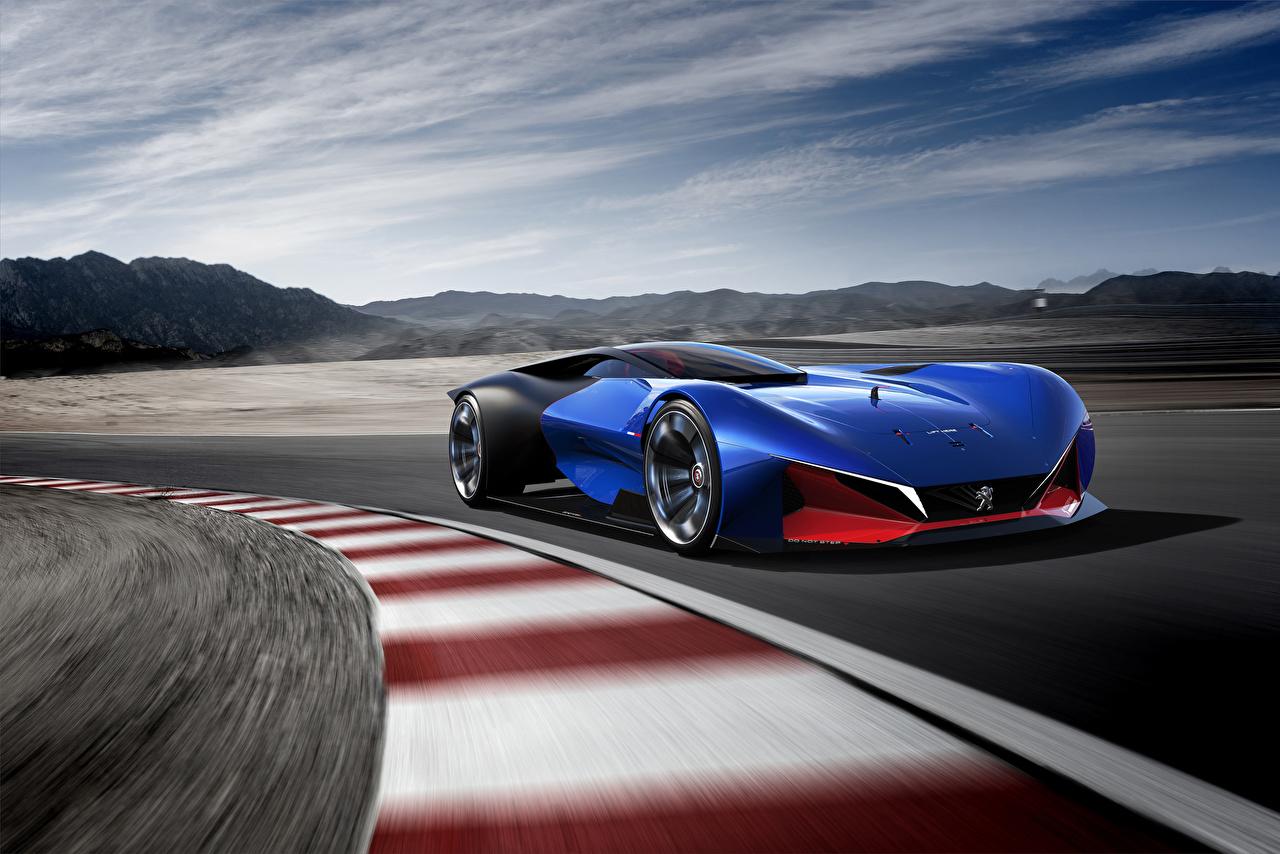 Фото Peugeot 2016 L500 R HYbrid Concept Гибридный автомобиль синих Движение машины Пежо синяя синие Синий едет едущий едущая скорость авто машина Автомобили автомобиль