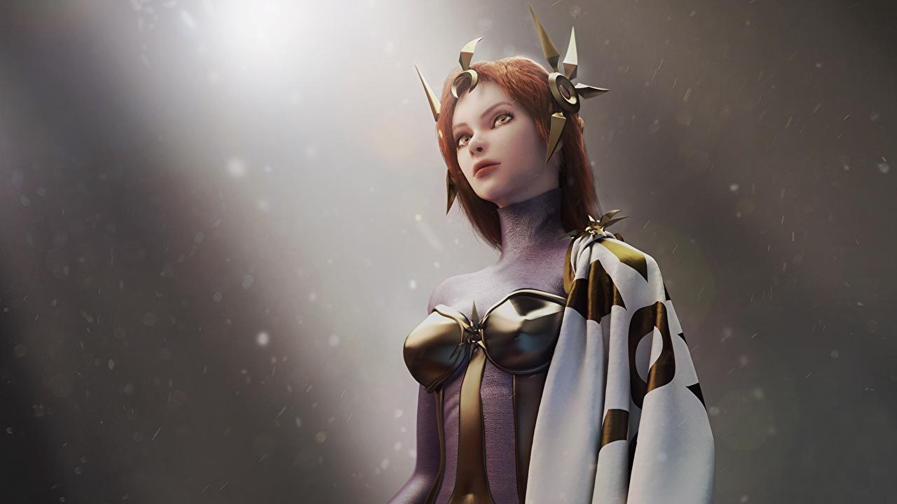 Картинка LOL Leona Фэнтези девушка 3D Графика компьютерная игра League of Legends 3д Девушки Фантастика молодая женщина молодые женщины Игры