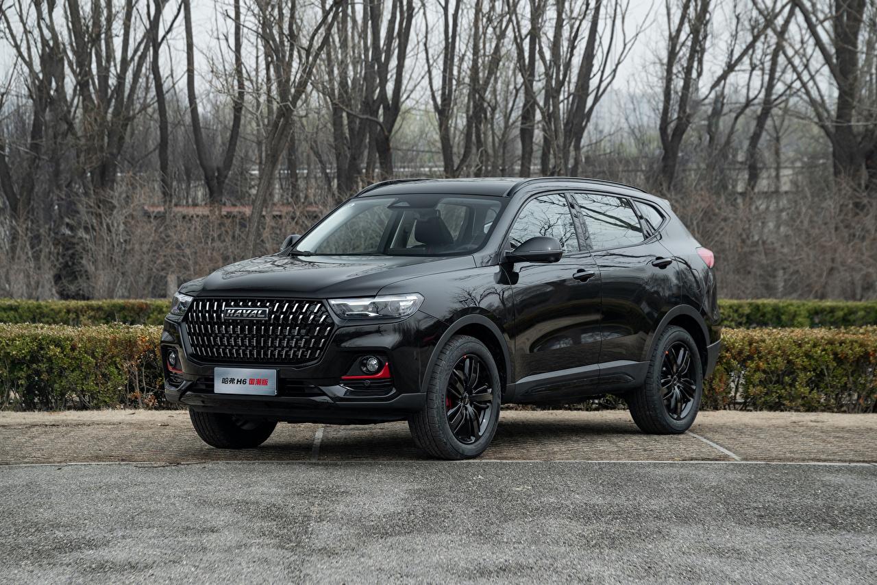 Обои для рабочего стола Haval китайская CUV H6 GT, 2021 черных машины Металлик китайский Китайские Кроссовер черная черные Черный авто машина Автомобили автомобиль
