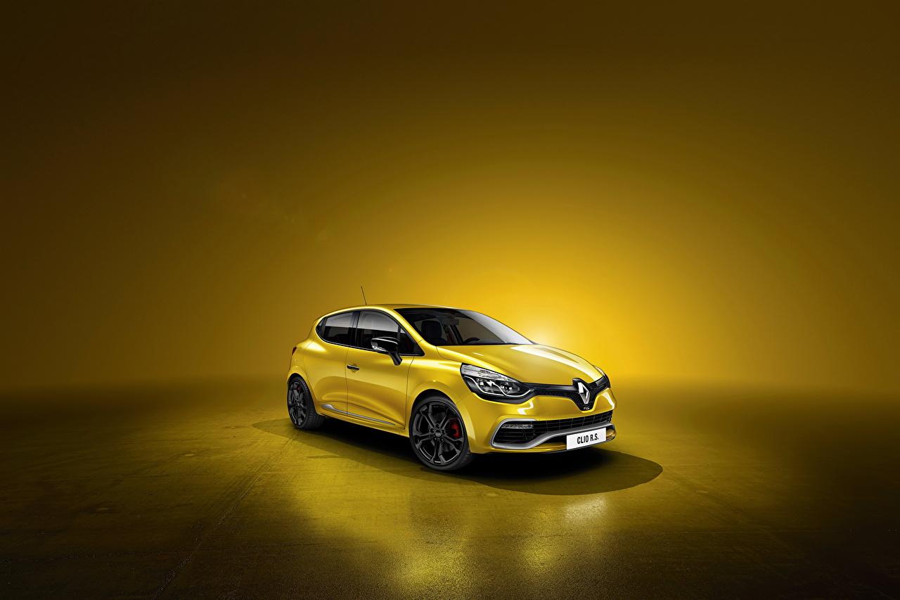 Фотографии Рено 2012 Clio RS 200 EDC желтых Автомобили Renault Желтый желтые желтая авто машина машины автомобиль