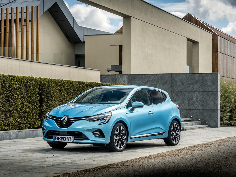 Обои для рабочего стола Рено Clio E-TECH, 2020 голубая авто Металлик Renault Голубой голубые голубых машина машины Автомобили автомобиль