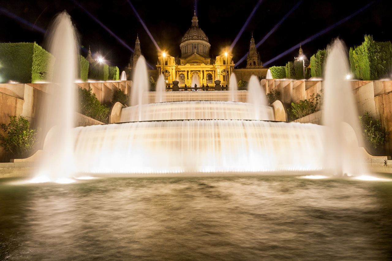 Картинка Барселона Дворец Испания Фонтаны Ночь Города дворца ночью в ночи Ночные город