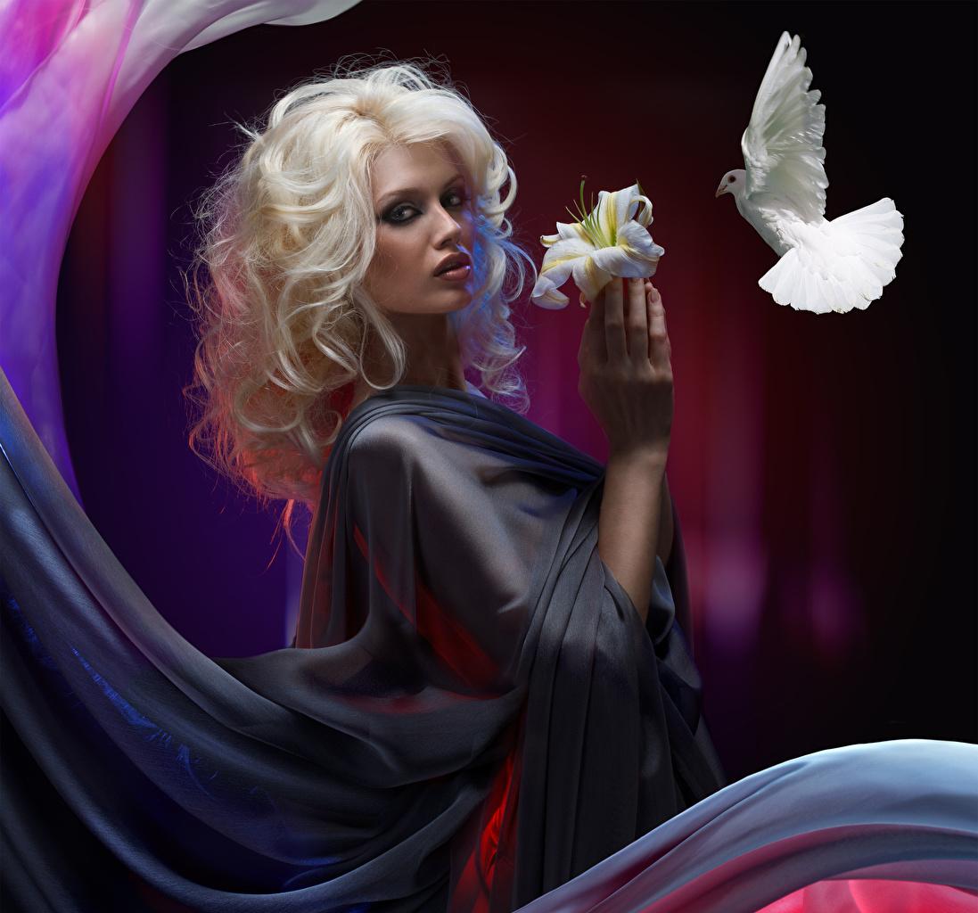 Обои для рабочего стола птица Голуби блондинки Лилии девушка рука Взгляд Птицы голубь Блондинка блондинок лилия Девушки молодая женщина молодые женщины Руки смотрит смотрят