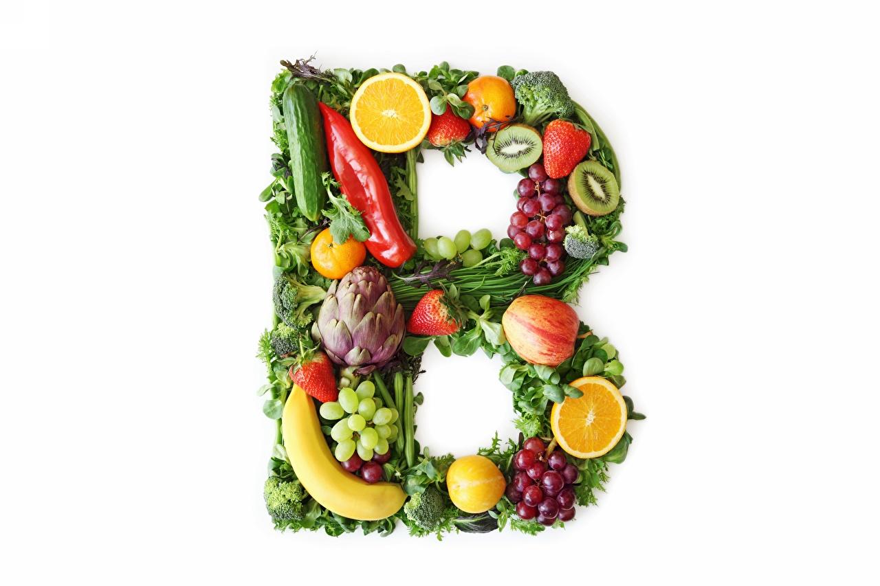 Картинка Vitamins B Овощи Фрукты Продукты питания белым фоном Еда Пища Белый фон белом фоне