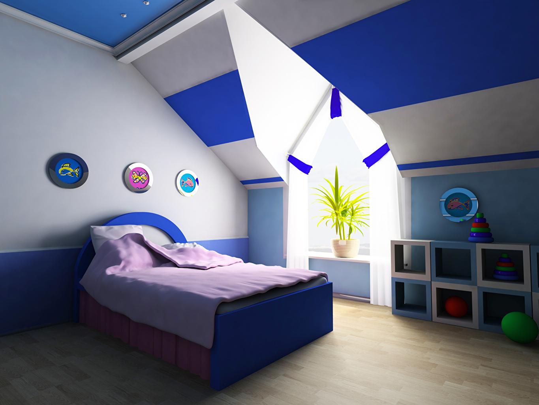 Картинки Детская комната 3D Графика Интерьер Кровать Дизайн