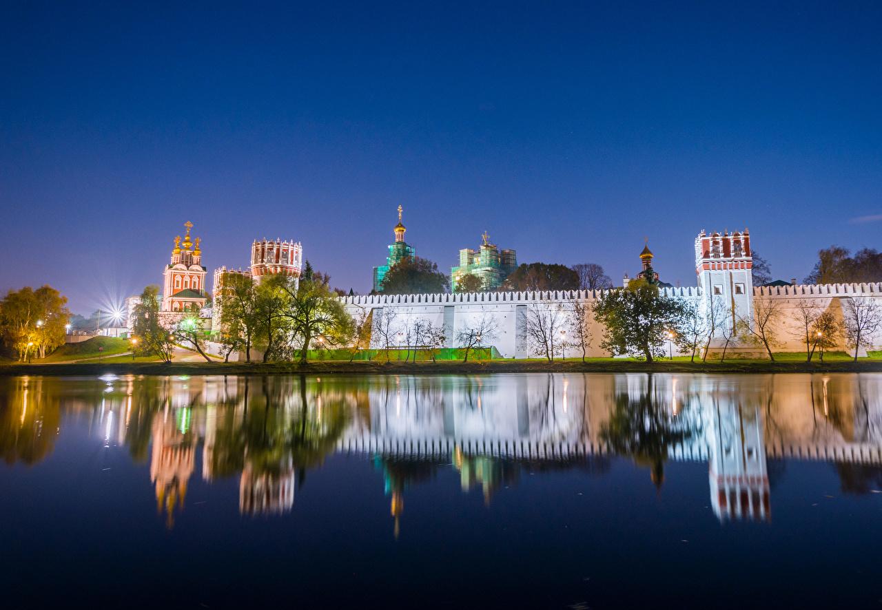 Фото Москва Монастырь Россия Novodevichy Convent Вечер речка Города Реки