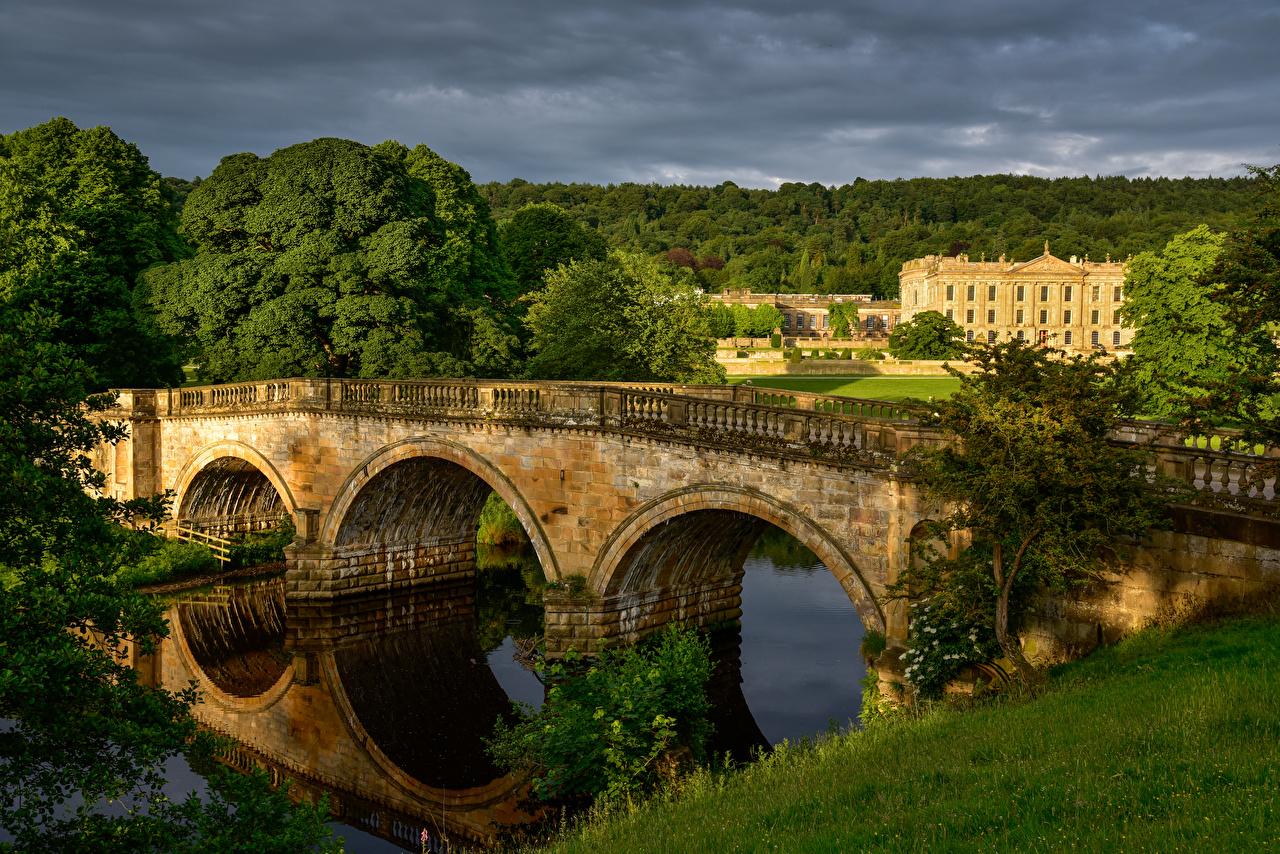 Фото Великобритания Chatsworth House Мосты Природа Реки Дома речка Здания