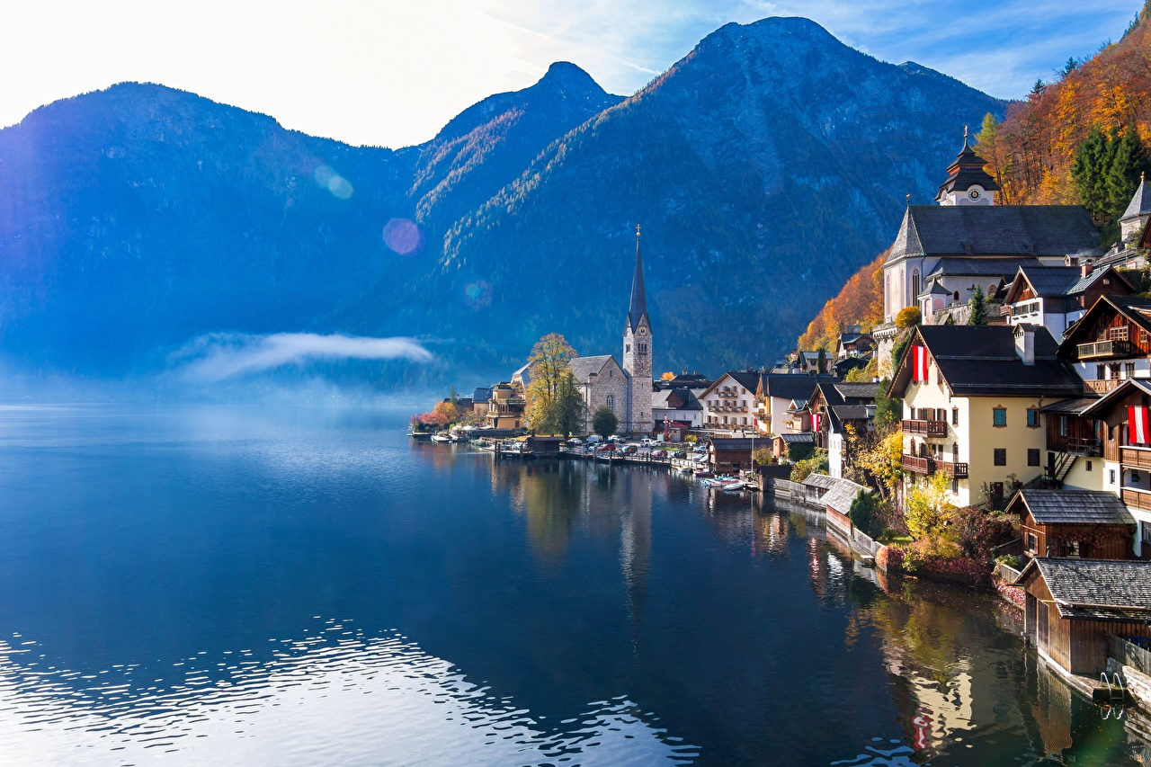 Обои для рабочего стола Халльштатт альп Австрия гора Природа Озеро Отражение Здания Альпы Горы отражении отражается Дома