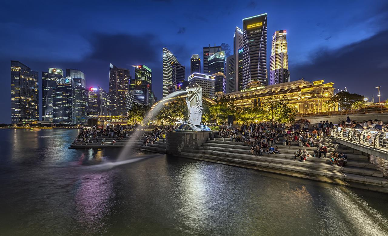 Обои для рабочего стола Сингапур Фонтаны Merlion Park Лестница парк Вечер Здания Города скульптура лестницы Парки Дома город Скульптуры