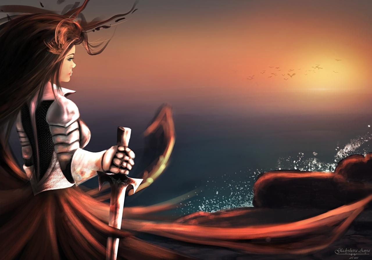 Фотографии меча Рыцарь доспехе Воители Фэнтези молодые женщины меч Мечи броня броне с мечом Доспехи доспехах воин воины девушка Девушки Фантастика молодая женщина