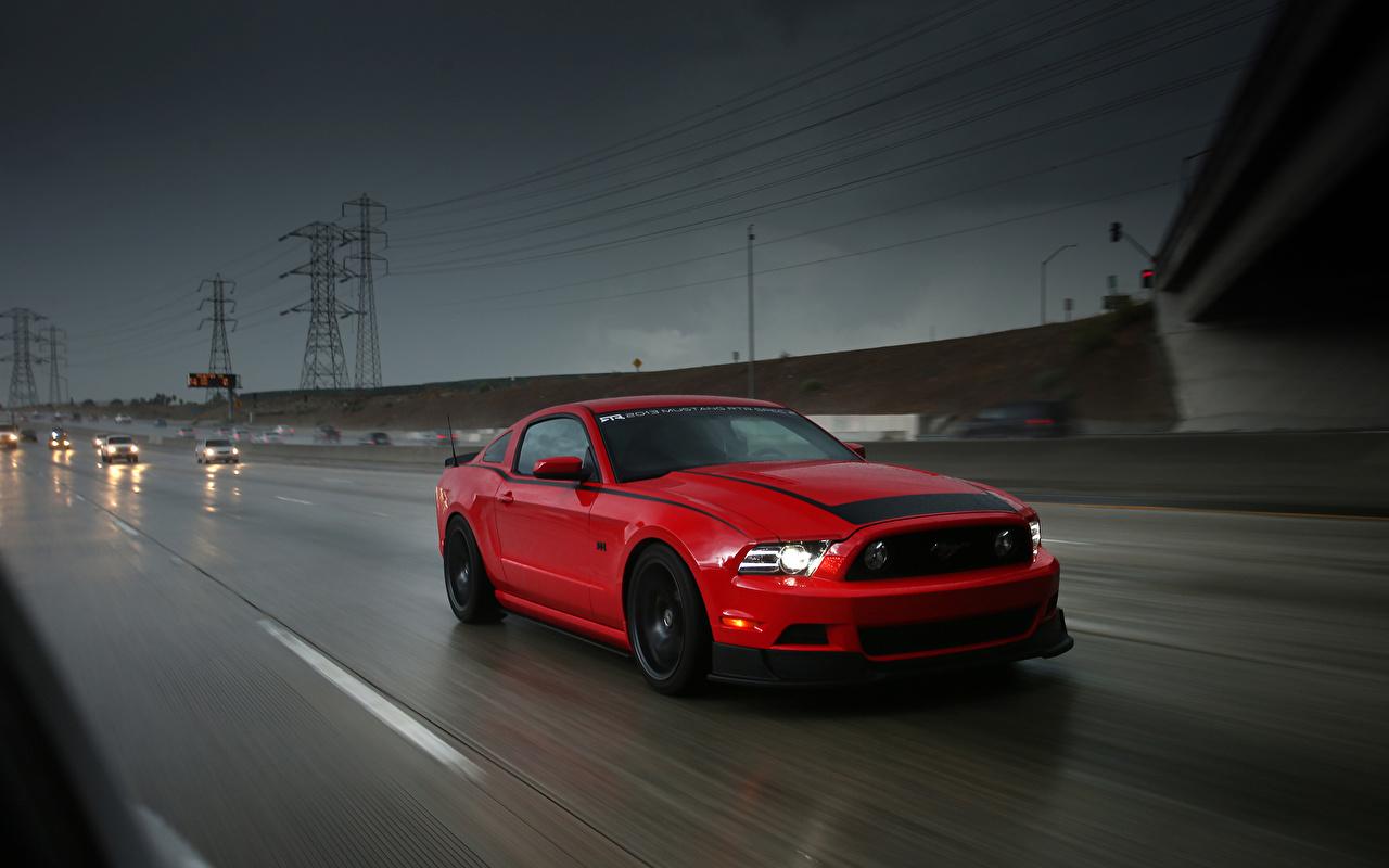 Фотографии Ford mustang Красный Дороги Автомобили Форд красная красные красных авто машины машина автомобиль