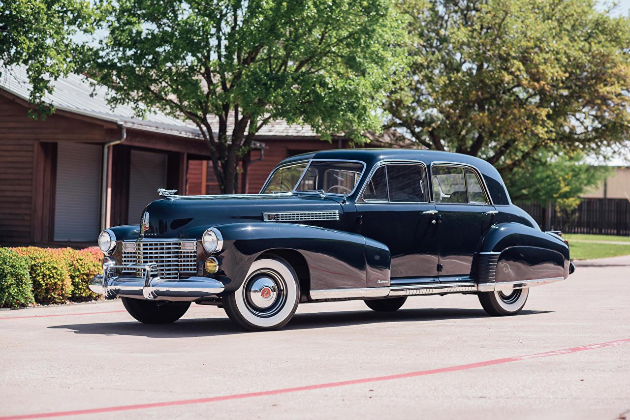 Фотографии Кадиллак 1941 Fleetwood Sixty Special Sedan синих Автомобили Cadillac синяя синие Синий авто машины машина автомобиль