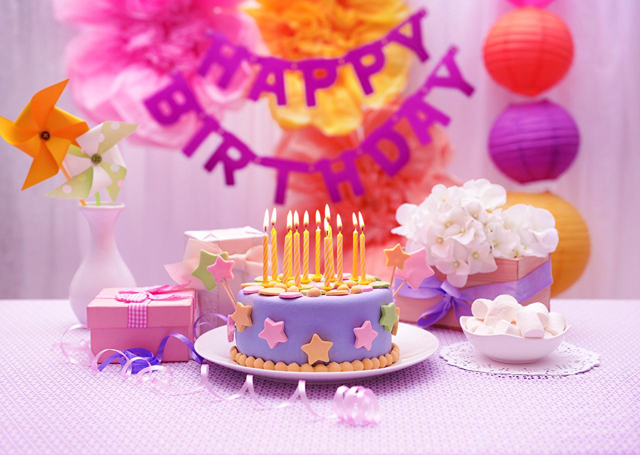 Фотография День рождения Торты Еда Свечи Праздники Пища Продукты питания
