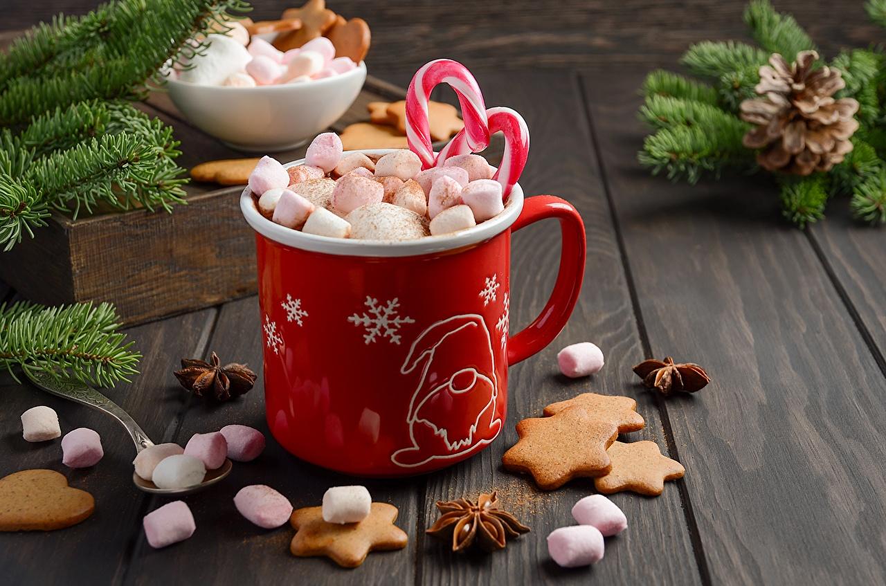 Картинки Новый год зефирки Кружка Печенье Продукты питания Рождество Маршмэллоу Еда Пища кружке кружки