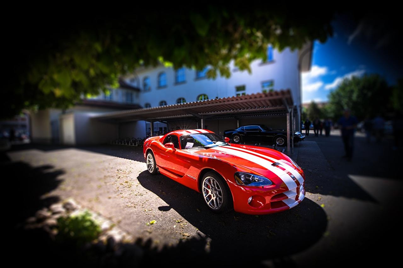Фотографии Dodge Viper SRT-10 красные Полоски Автомобили Додж красная Красный красных авто машины машина полосатый полосатая автомобиль