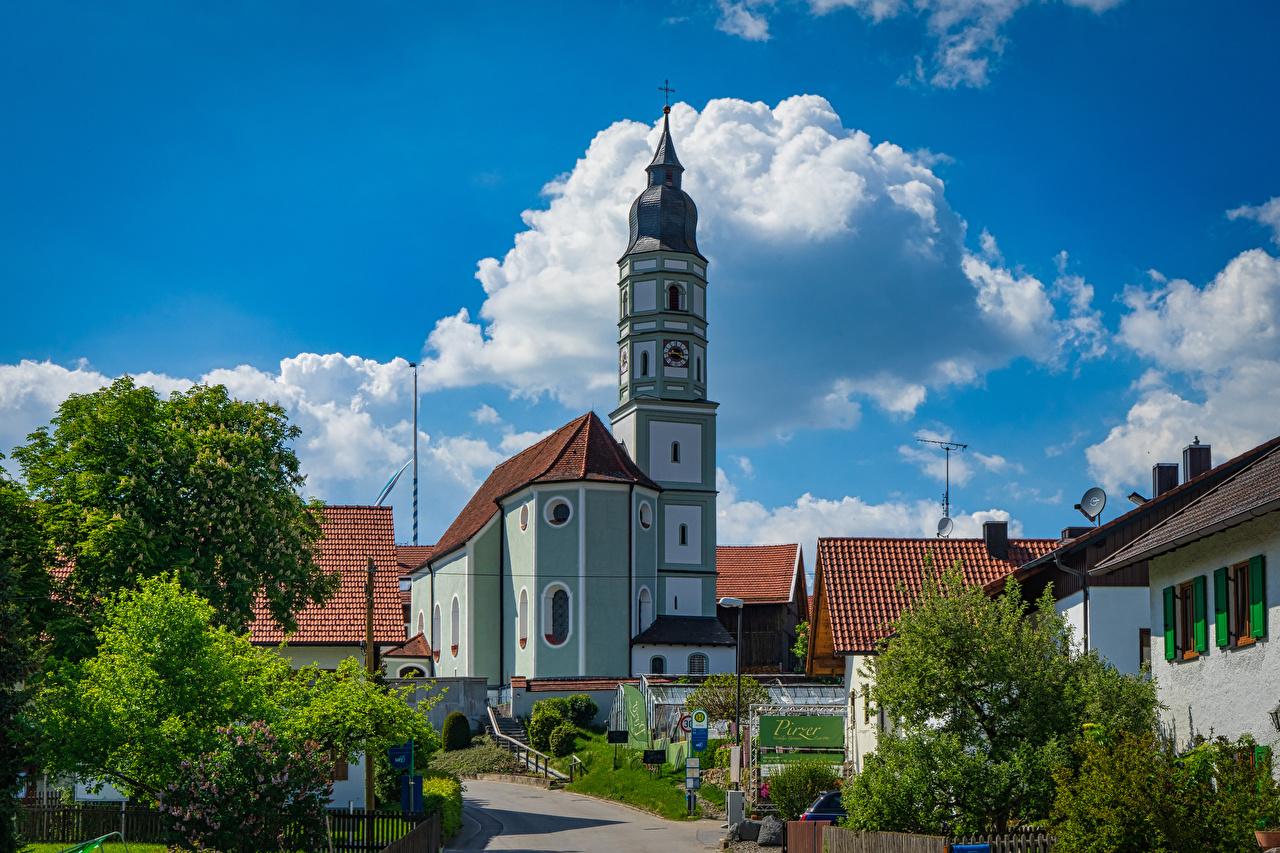 Фото Церковь Бавария Германия Drößling Seefeld храм город Здания Храмы Дома Города