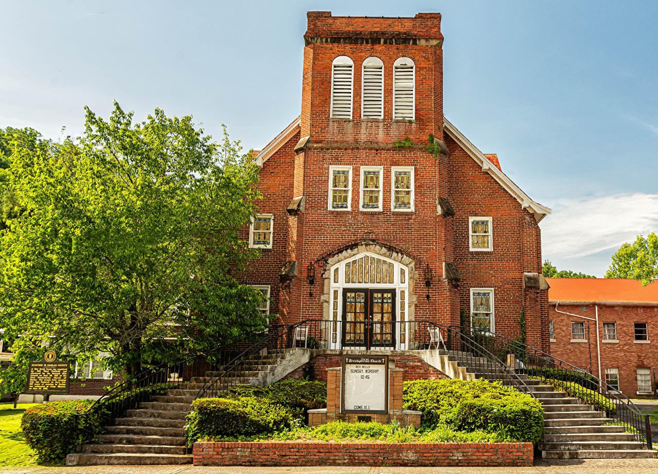 Картинка Церковь америка First Presbyterian Church Harlan, Kentucky лестницы храм город США штаты Лестница Храмы Города