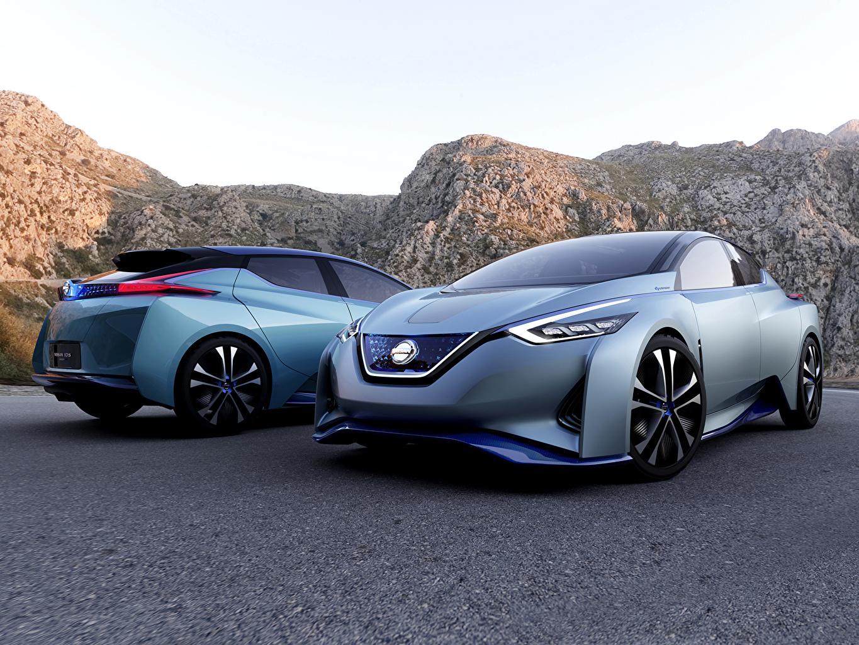 Картинки Тюнинг 2015 Nissan IDS две голубых Автомобили Ниссан Стайлинг 2 два Двое вдвоем голубая голубые Голубой авто машины машина автомобиль