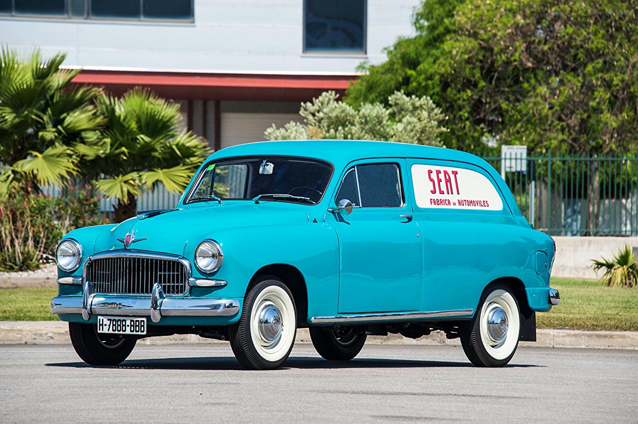 Обои для рабочего стола Seat 1959-63 1400 B Furgoneta Голубой старинные Автомобили Сиат Ретро винтаж голубых голубая голубые авто машина машины автомобиль
