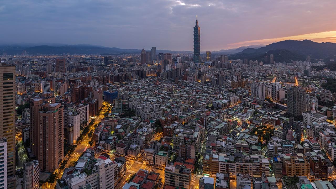 Картинки Тайбэй Тайвань мегаполиса Дома Города Мегаполис город Здания