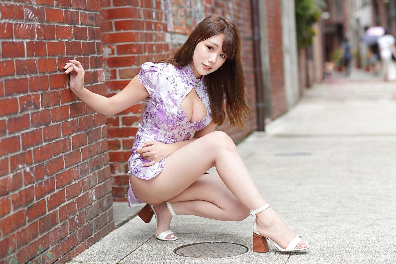 Фотографии шатенки Декольте Красивые позирует молодые женщины Ноги смотрит платья Шатенка Поза красивый красивая вырез на платье девушка Девушки молодая женщина ног Взгляд смотрят Платье
