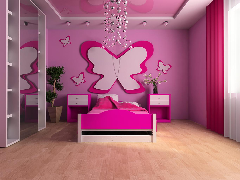 Фотографии Бабочки Детская комната Интерьер Кровать Дизайн бабочка кровате кровати дизайна