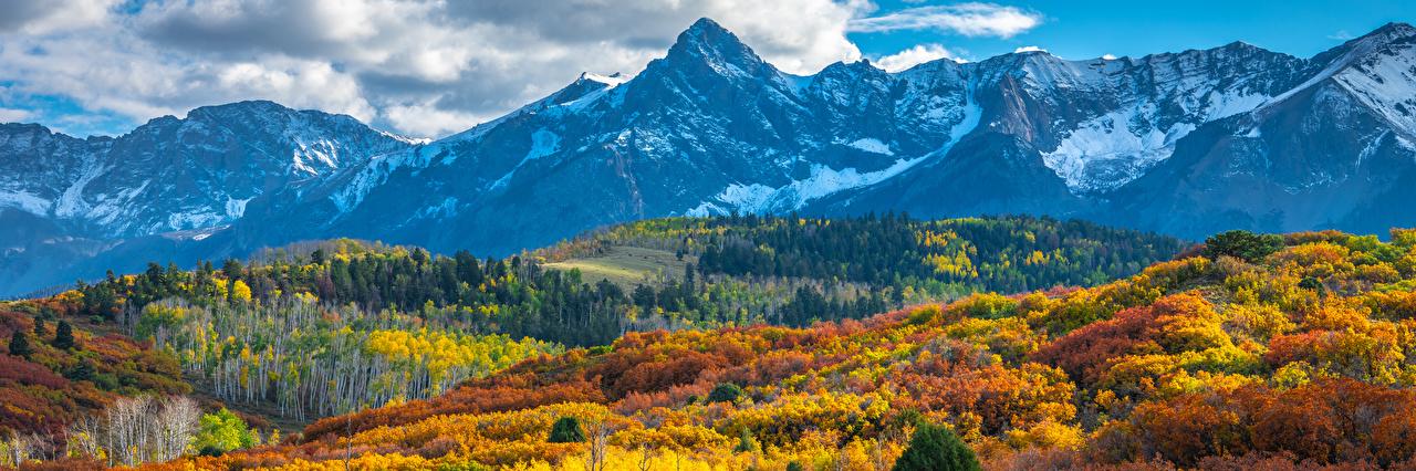 Фотография штаты Панорама Colorado Горы осенние Природа Пейзаж США америка панорамная гора Осень