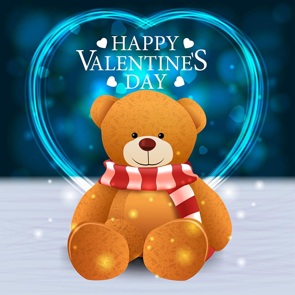 Фотографии День святого Валентина Шарф английская сердечко Мишки слова Векторная графика День всех влюблённых шарфе шарфом Английский инглийские серце Сердце сердца текст Плюшевый мишка Слово - Надпись