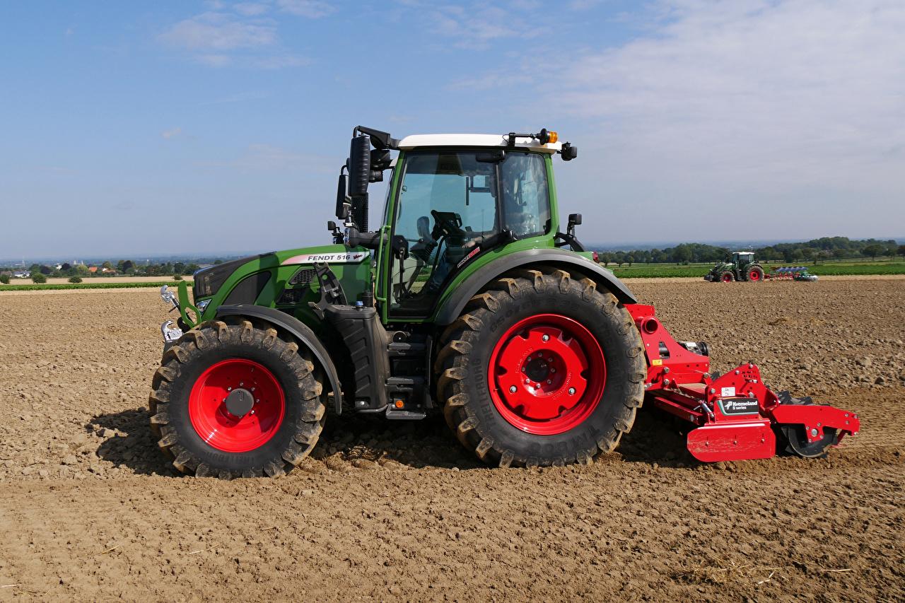 Картинка Сельскохозяйственная техника трактора Fendt 516 Vario, 2012 Поля Сбоку Трактор тракторы