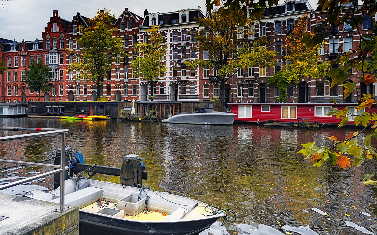 Фотографии Амстердам Нидерланды Водный канал Причалы Дома Города голландия Пирсы Пристань город Здания
