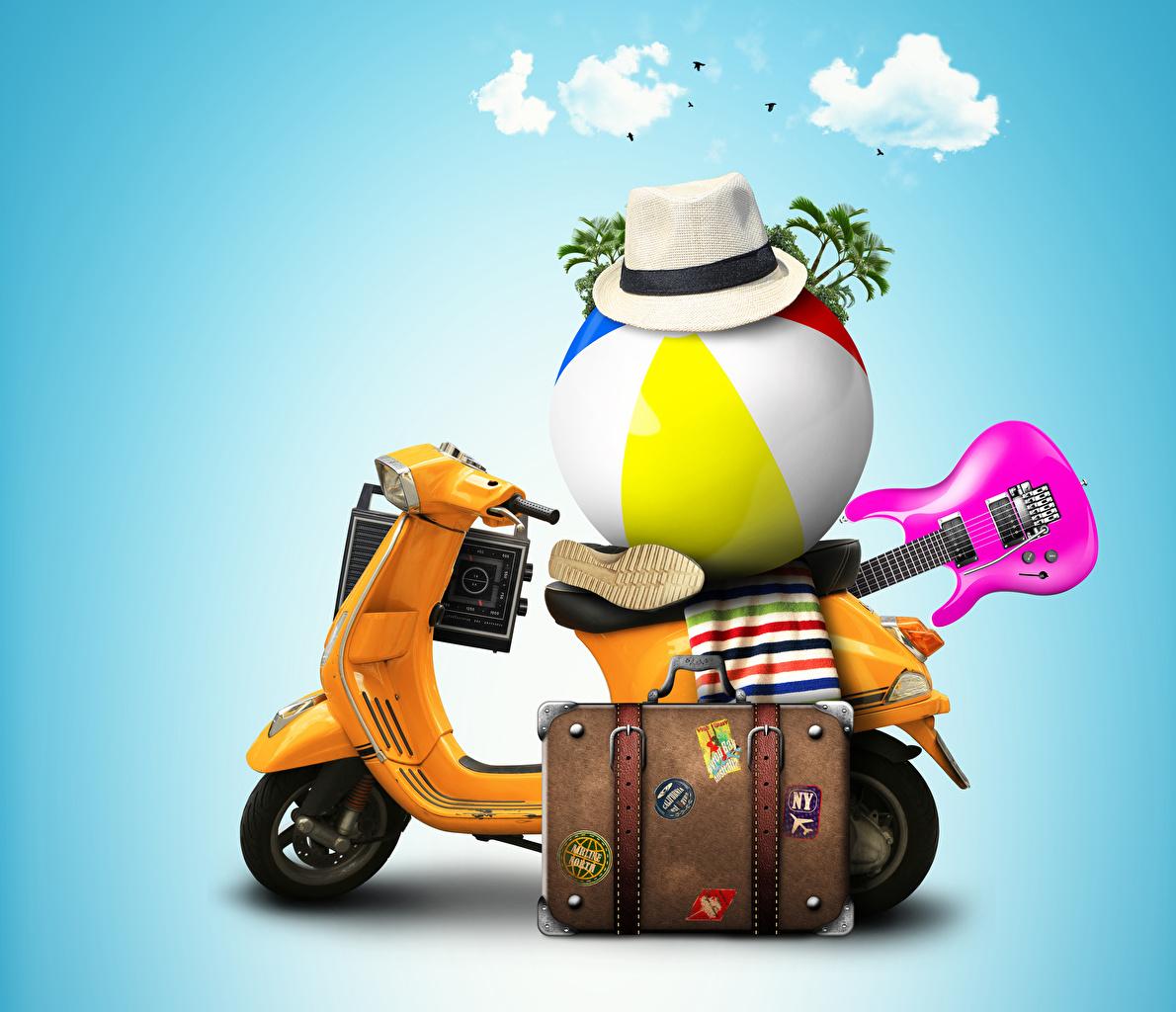 Фотография 3D Графика Мотороллер с гитарой Шляпа Туризм чемоданом Мяч Цветной фон 3д Скутер гитары Гитара шляпы шляпе Чемодан чемоданы Мячик