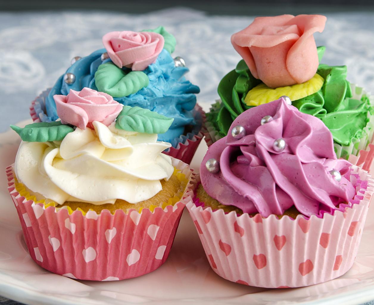 Фотография роза Капкейк кекс Еда Сладости дизайна Розы Пища Продукты питания сладкая еда Дизайн