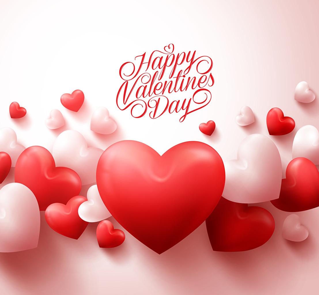 Картинка День святого Валентина Английский Сердце Много Белый фон День всех влюблённых сердечко