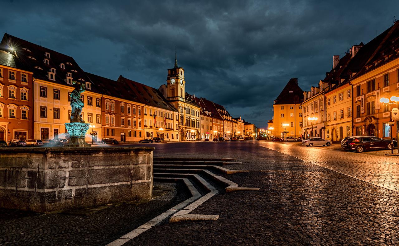 Фотографии Чехия Фонтаны Cheb Karlovy Vary Region Улица Ночь Уличные фонари Дома Города Ночные Здания