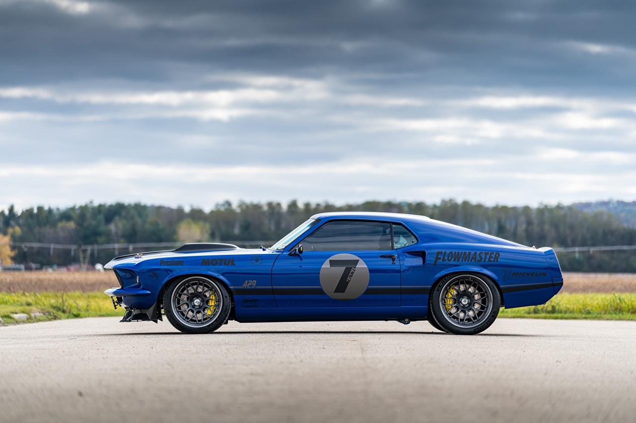 Картинки Форд 1969 Mustang Mach 1, By RingBrothers синие Сбоку машина Ford синяя Синий синих авто машины Автомобили автомобиль