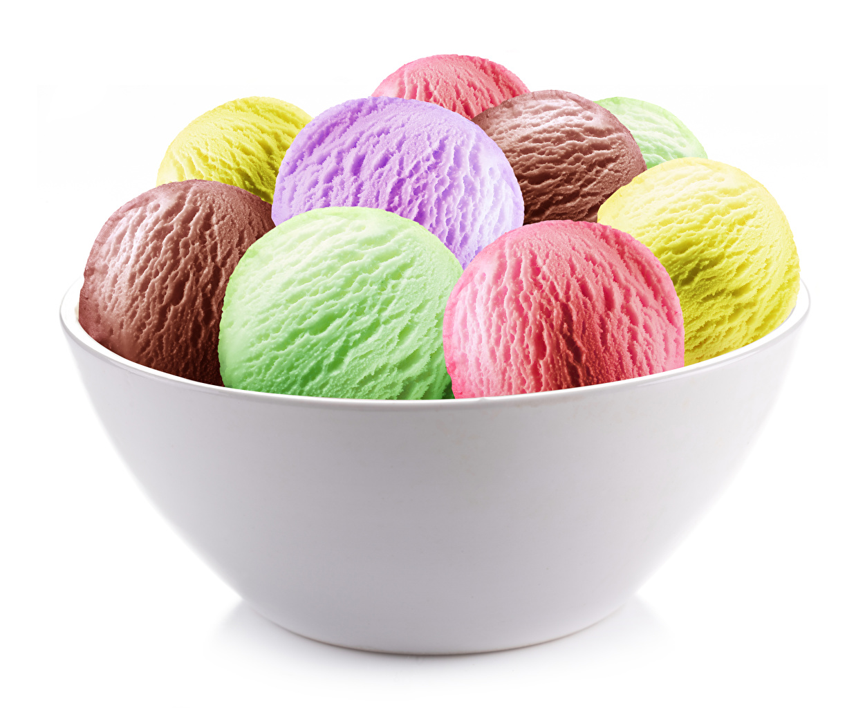 Обои для рабочего стола Разноцветные Мороженое Еда Шар белым фоном сладкая еда Пища Шарики Продукты питания Сладости Белый фон белом фоне