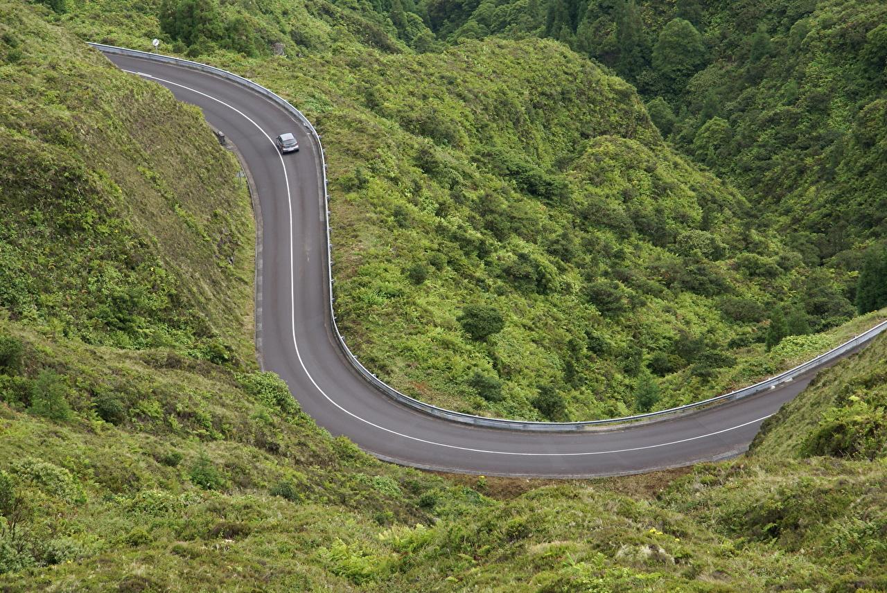 Картинка Португалия Azores Природа Дороги Сверху