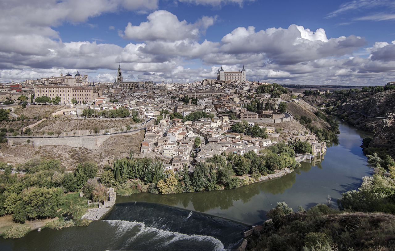 Обои Толедо Испания Водопады речка Дома Города Облака Реки Здания