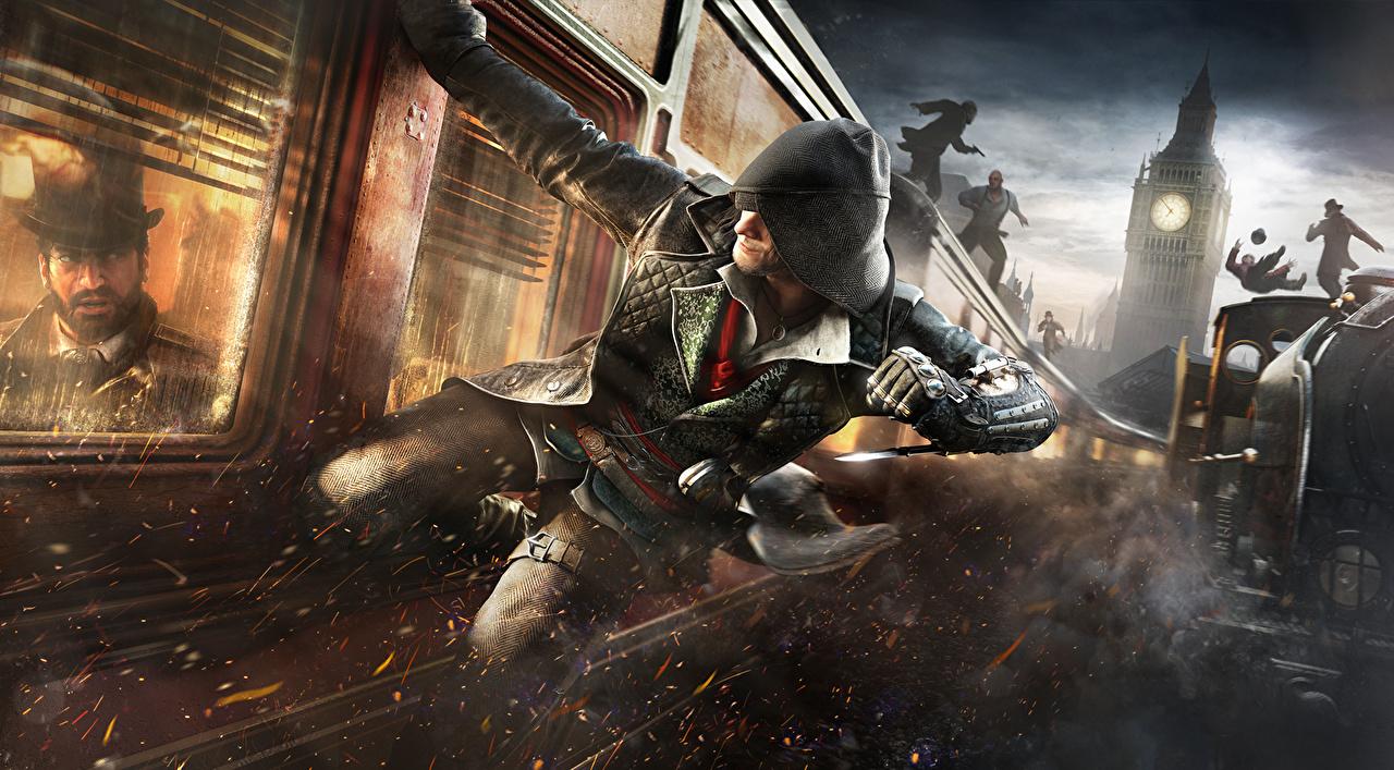 Обои для рабочего стола Assassin's Creed Assassin's Creed Syndicate Биг-Бен Мужчины Игры Поезда капюшоном мужчина компьютерная игра Капюшон капюшоне